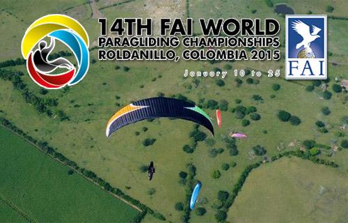 14th FAI World Paragliding Championships, Roldanillo, Colombia, 10-25 January 2015